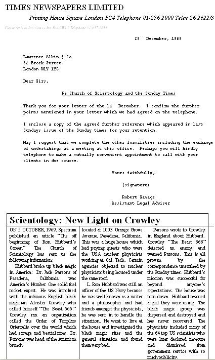 Копия письма из газеты «Санди Таймс» поверенным церкви Саентологии, с текстом согласованной статьи.